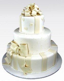 Cake in White Satin